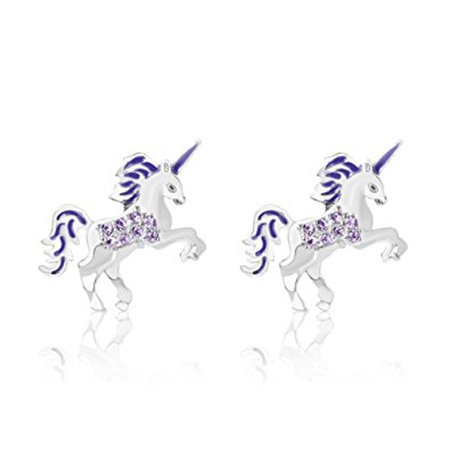 d76e8c7c55c23 Children's Earrings - 925 Sterling Silver with a White Gold Tone Unicorn  Purple Enamel Secure Screw Back Earrings Made with Swarovski Elements, ...