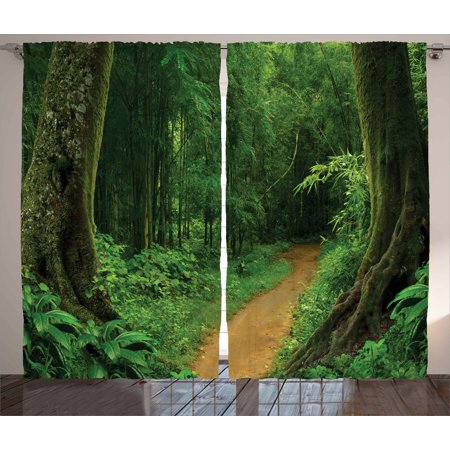 Jungle Curtains 2 Panels Set Pathway In The Forest
