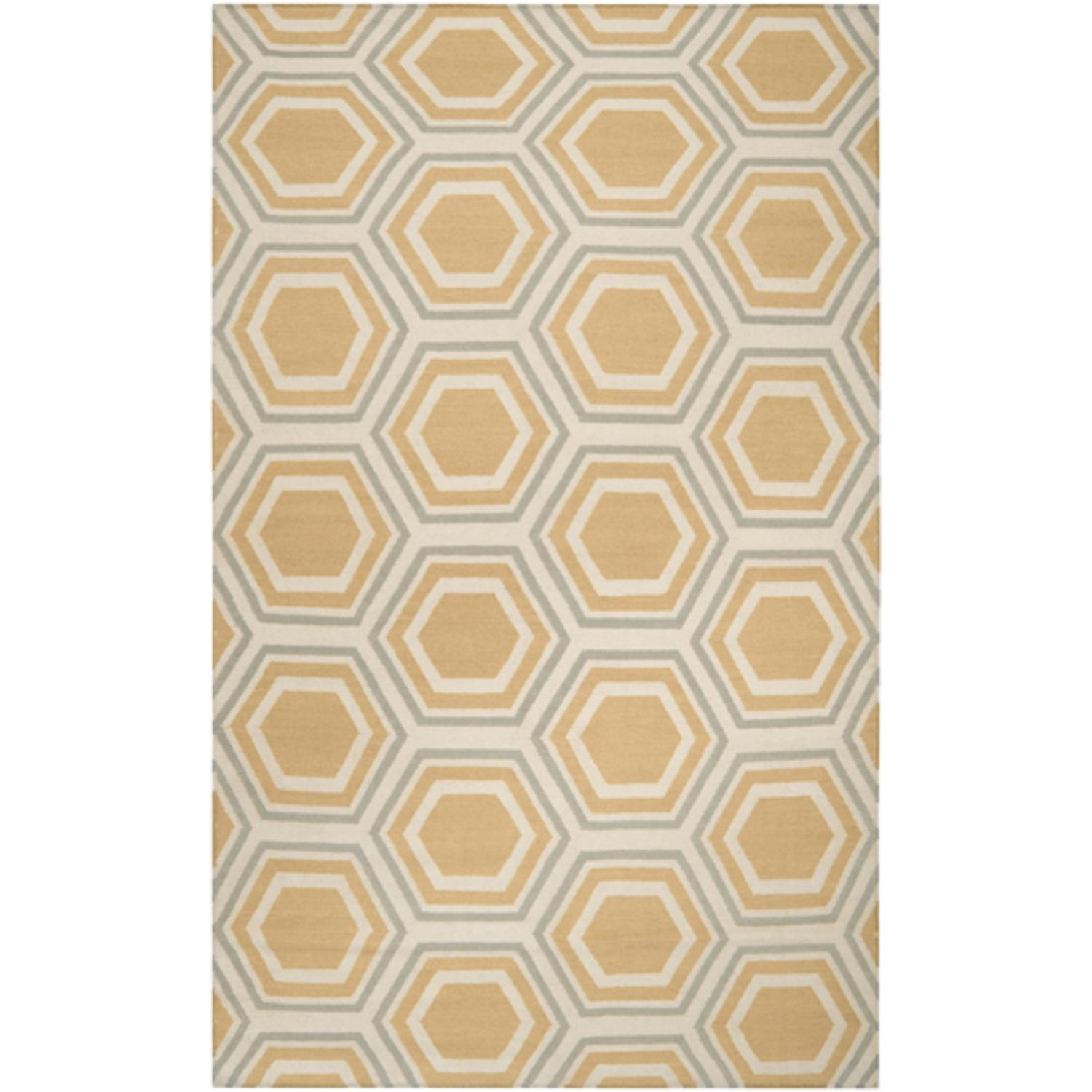 2.5' x 8' Retro Octagon Goldenrod and Silver Wool Area Throw Rug