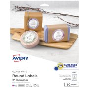 """Avery Printable Round Labels with Sure Feed, 2"""" Diameter, Glossy White, 60 Customizable Labels (22817)"""