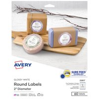 "Avery Circle Labels, Sure Feed, 2"", 60 Glossy Labels (22817)"