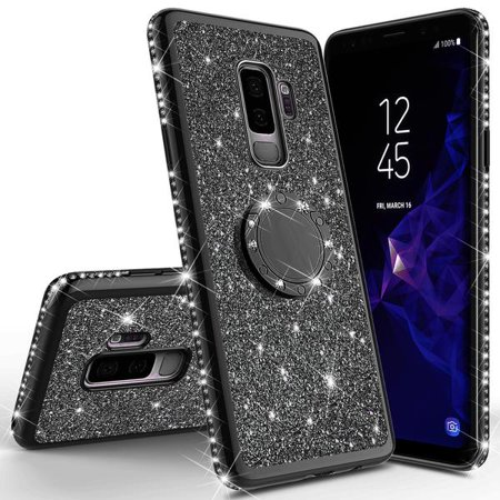 Galaxy S9 Case, Cute Glitter Ring Stand Phone Case with Kickstand, Bling Diamond Rhinestone Bumper Ring Stand Sparkly Luxury Clear Thin Soft Protective Samsung Galaxy S9 Case for Girls Women - Black - image 1 of 6