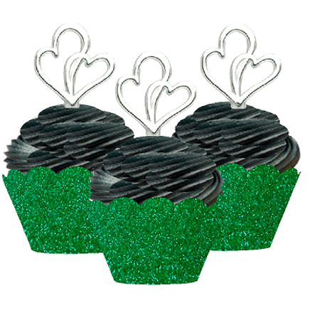 12pk Double Heart Wedding Bridal Shower Cupcake Toppers w. Green Glitter Wrappers