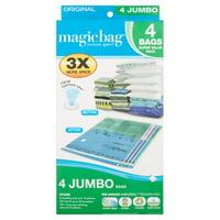 MagicBag Original Flat Instant Space Saver Storage - Jumbo - Double Zipper - 4 Pack