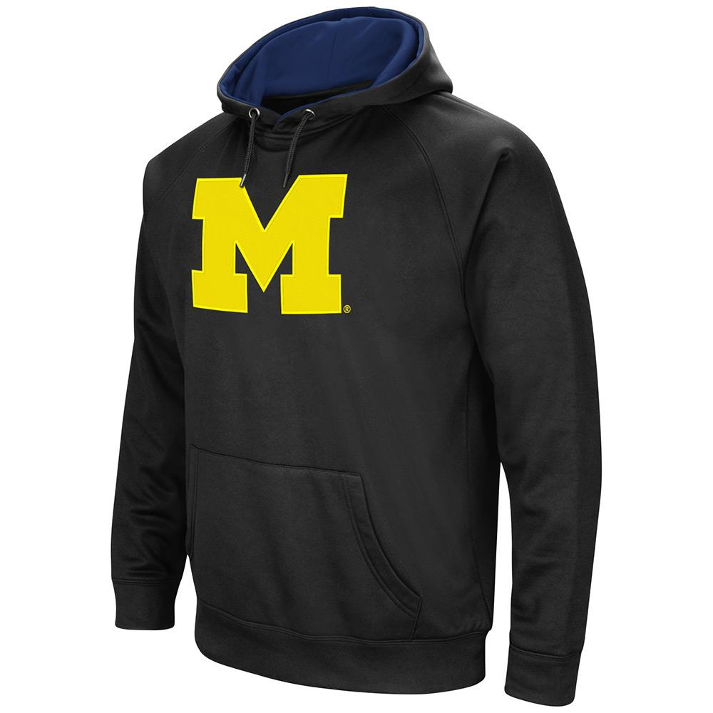 Mens NCAA Michigan Wolverines Black Pull-over Hoodie by Colosseum