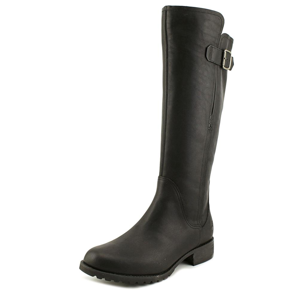 Timberland Banfield Wide Calf Women Round Toe Leather Black Knee High Boot by Timberland