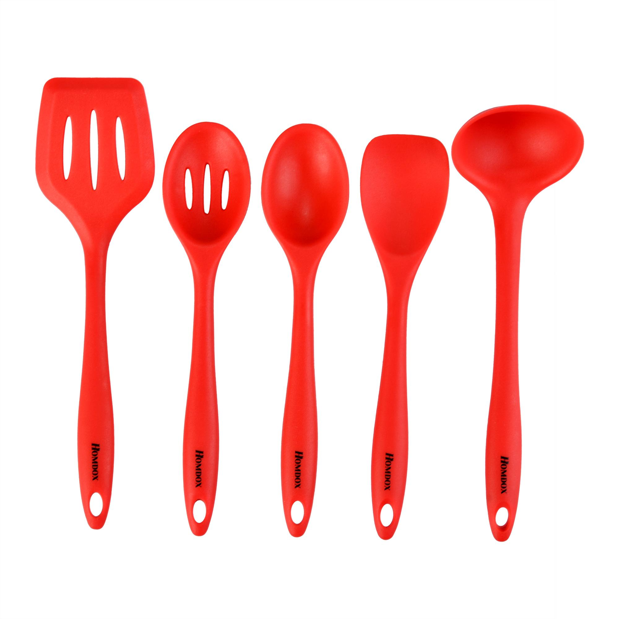 5 x Kitchen Utensil Set Silicone Spoon Baking Cooking Baking Tools Non-Stick SPHP