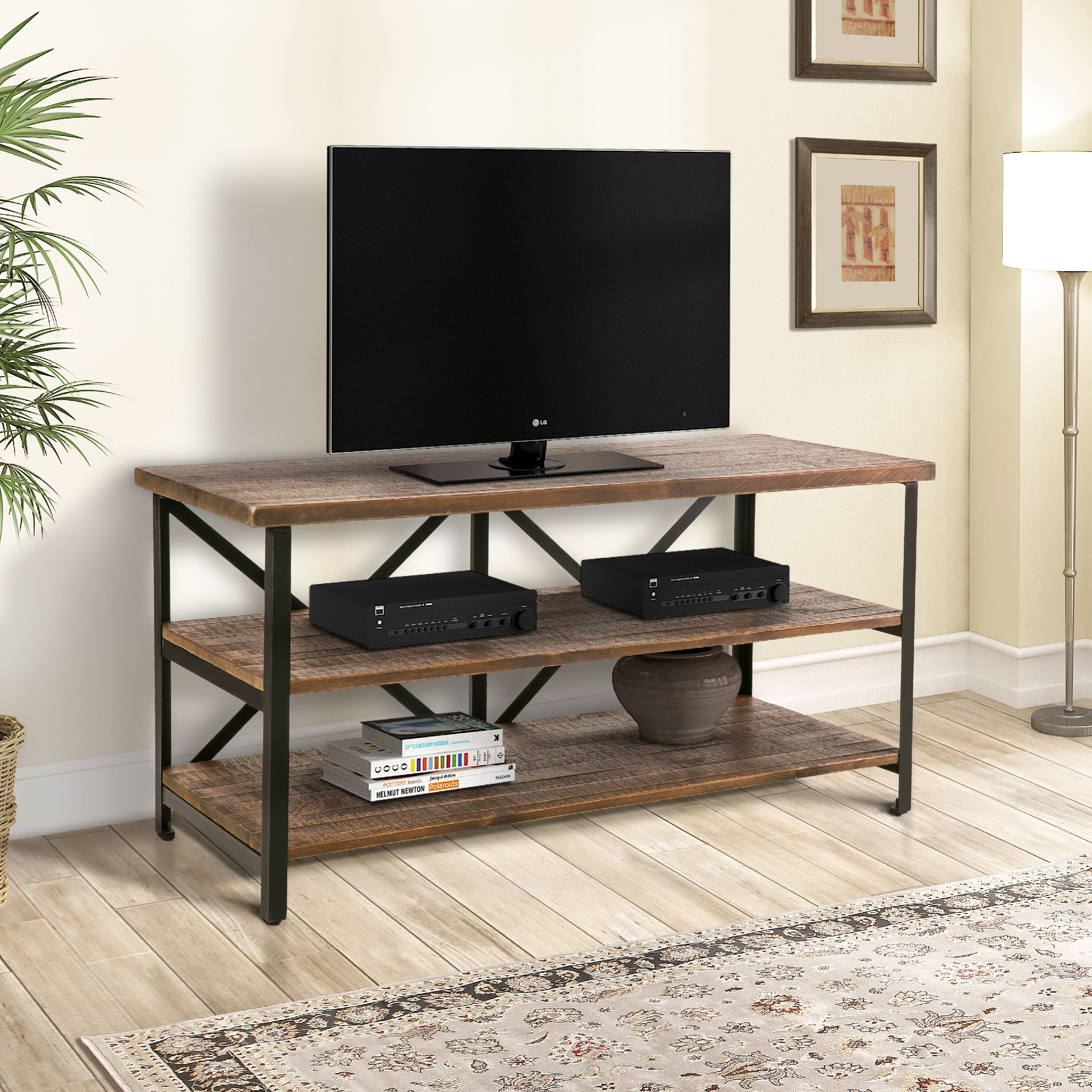 Harper&Bright Designs Solid Wood TV Stand with Metal Frame/Three Shelves for TVs up to 60""