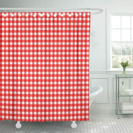 KSADK Table Pattern Red Gingham Vintage Checkerboard Country Bistro Tartan Tavern Bathroom Shower Curtain 60x72 inch