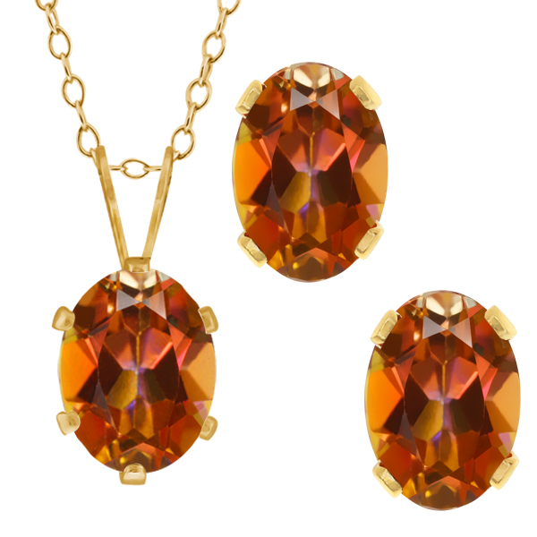 3.50 Ct Oval Ecstasy Mystic Topaz Gold Plated Silver Pendant Earrings Set