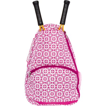 LISH Women's Deuce Geometric Square Printed Tennis Racket Holder Backpack Bag for $<!---->