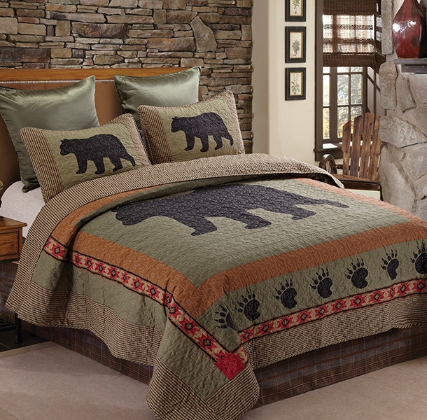 Bear and Paw Rustic Lodge Quilt and Sham Set - Twin Size