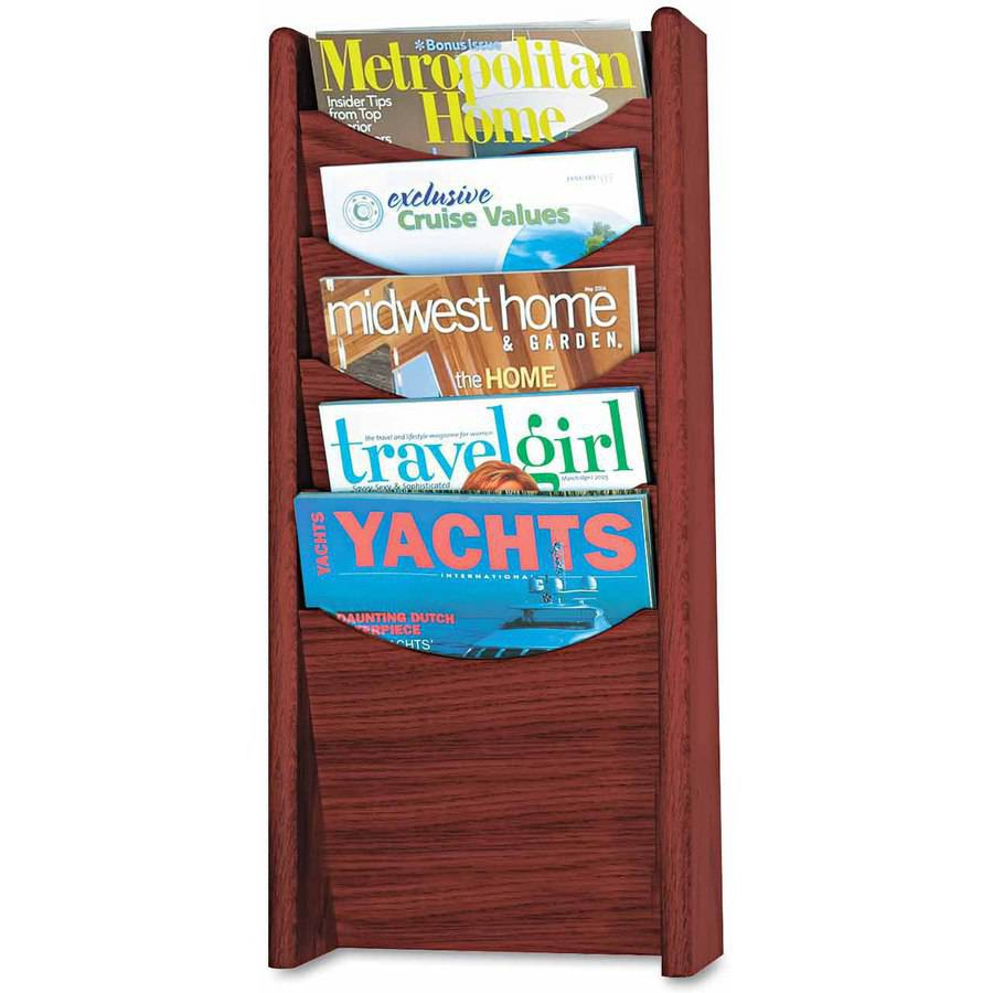 Safco Solid Wood Wall-Mount Literature Display Rack, 11-1/4 x 3-3/4 x 23-3/4, Mahogany