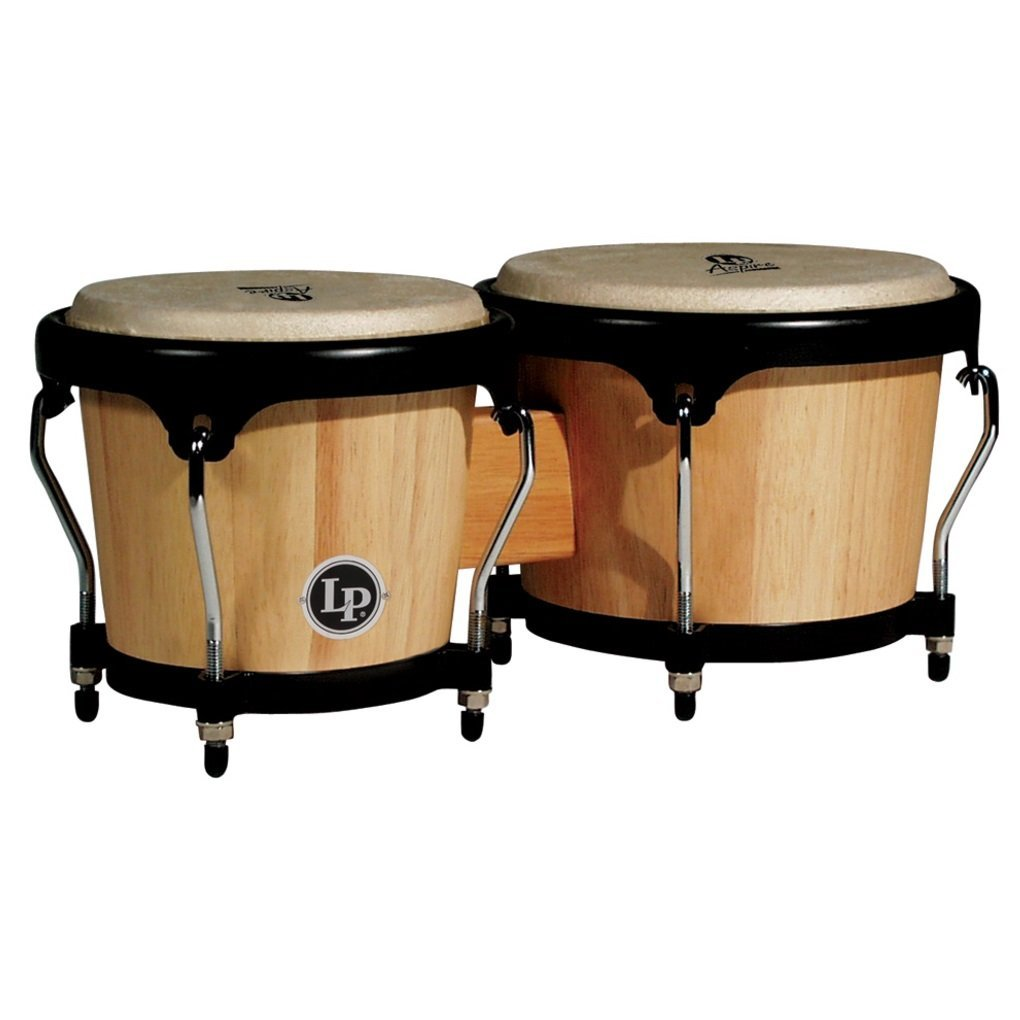 "LP Latin Percussion LPA601AW Aspire 8"" and 6.75"" Natural Finish Wood Bongos with Black Hardware"