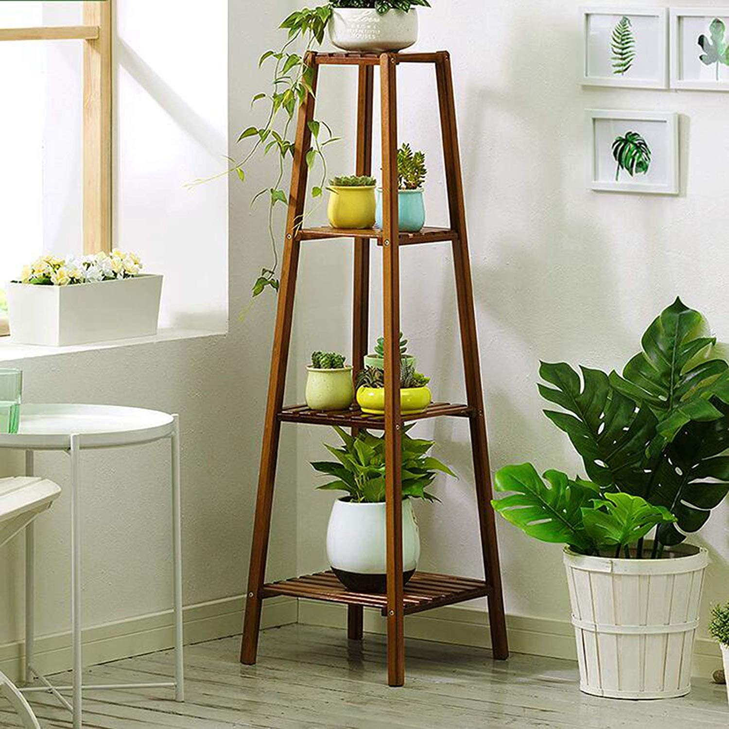 Magshion Bamboo 4 Tier Tall Plant Stand Pot Holder Small Space Table Walmart Com Walmart Com