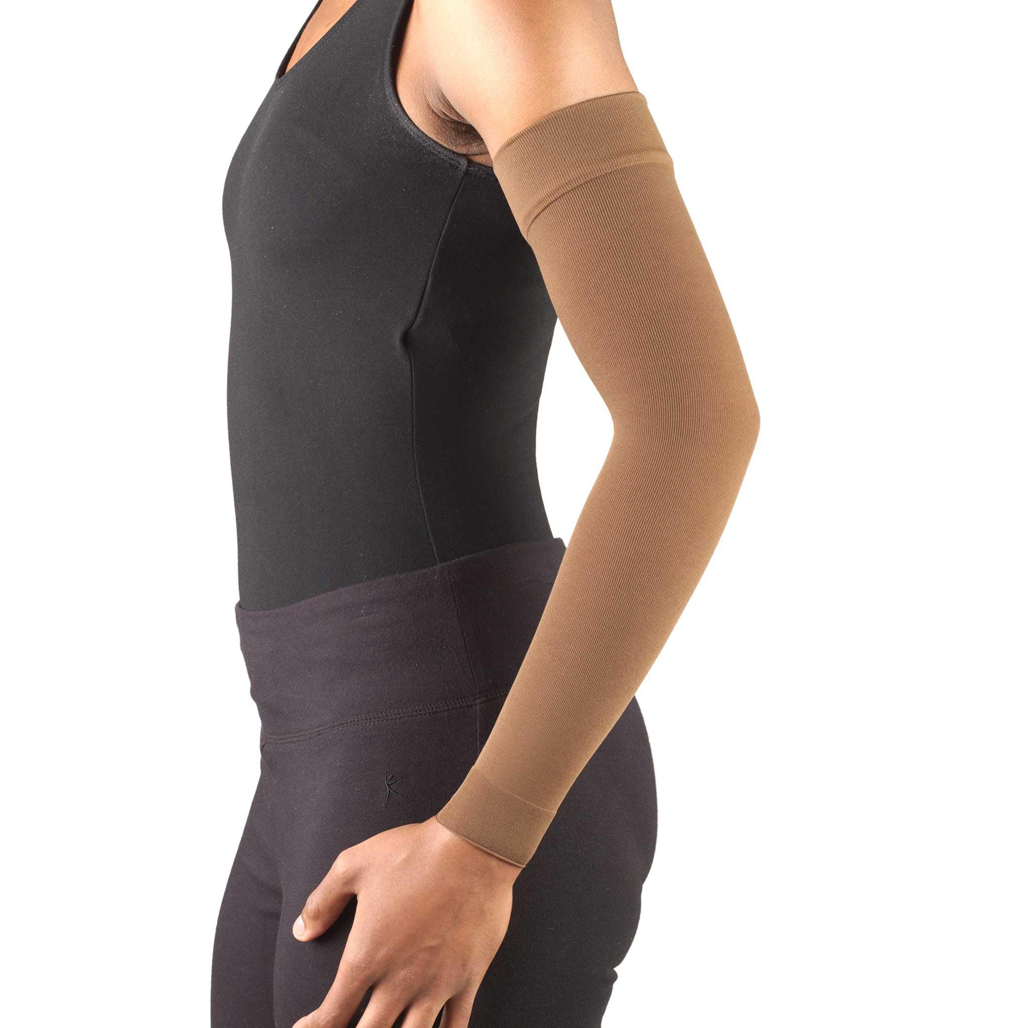 Truform Lymphedema Compression Arm Sleeve: 20-30 mmHg, Brown, Large