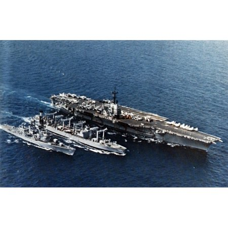 LAMINATED POSTER The U.S. Navy fleet oiler USS Canisteo (AO-99) refueling the aircraft carrier USS Independence (CV-6 Poster Print 24 x (Edmonton Oilers Team Logo Poster)