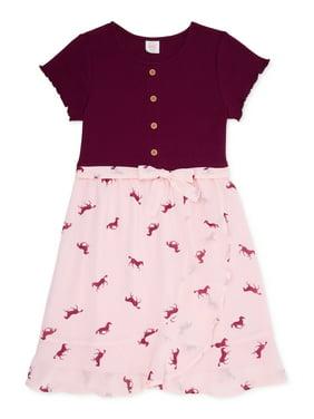 Wonder Nation Girls Faux Foldover Wrap Dress, Sizes 4-16 & Plus