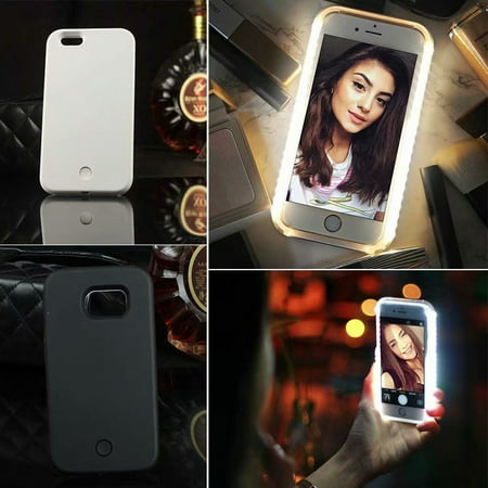 Flash Hardback Cover Case (VicTsing Luminous Illuminated Flashlight LED Light Selfie Fill Light Cell Phone Case Phone Cover for iPhone X)