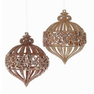 2 Assorted Rose Gold Glitter Onion Shaped Christmas Ornaments