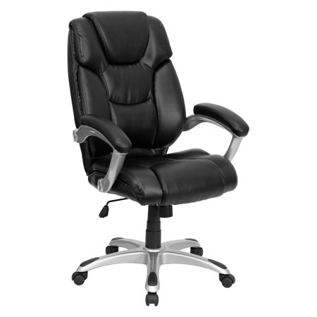 Leather Executive High-Back Office Chair with Waterfall Seat, Black Black Leather Seat Chair
