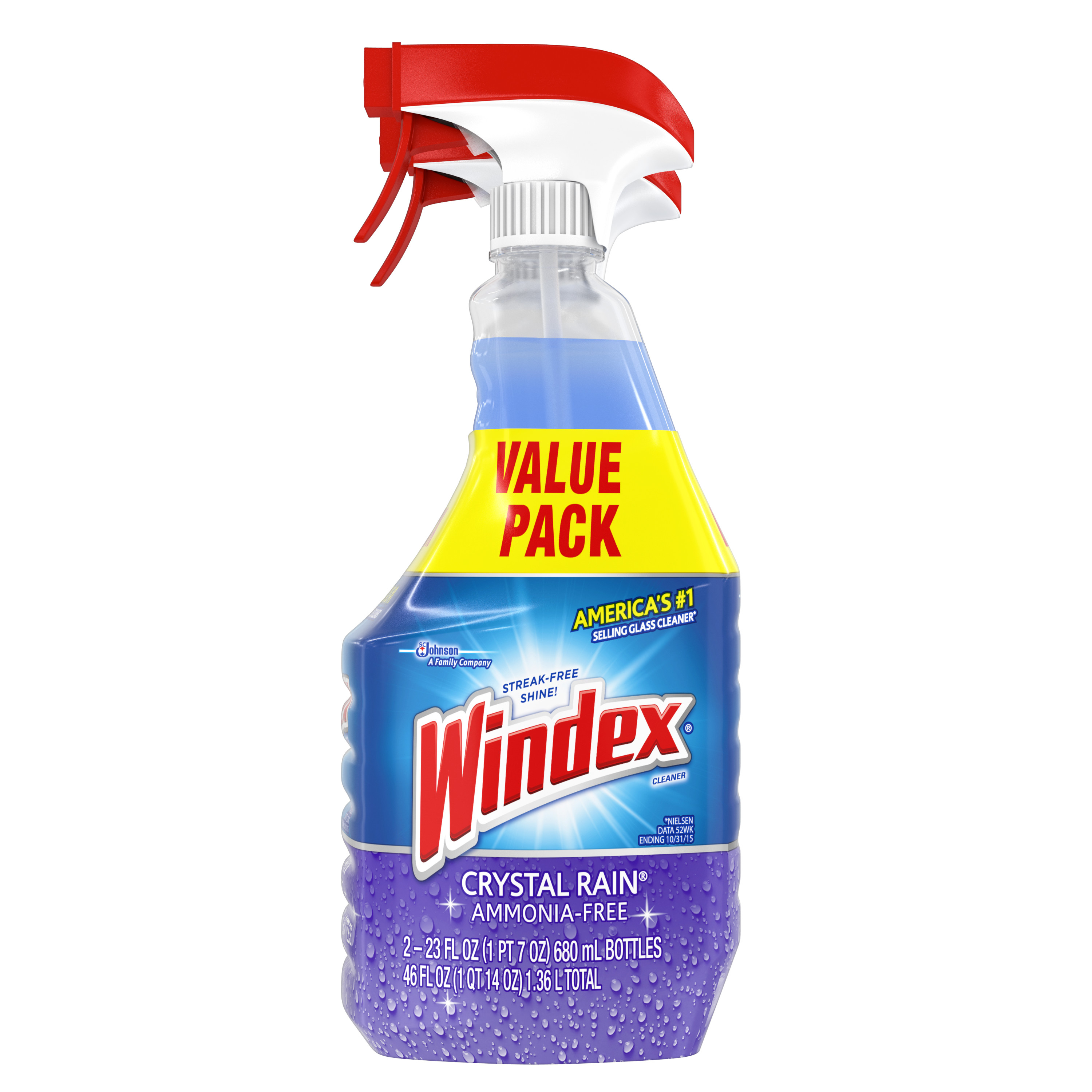 Windex Crystal Rain Glass Cleaner, 23 Fluid Ounces, 2 count