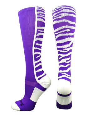 a6ef9680807 Product Image Crazy Socks with Safari Tiger Stripes Over the Calf Socks  (White Black