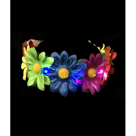 Fun Central (BC958) 1 pc LED Light-up Rainbow Flower Halo, Hair Headband, Hair Decorations, Party Supplies (Flower Halo Headband)