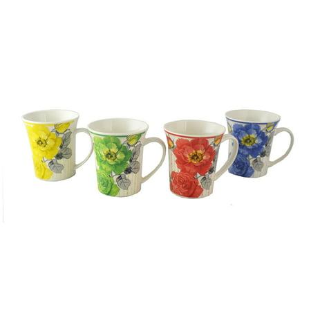Floral Tea or Coffee Mugs Set of 4 Multicolor Gift Set Vintage Style