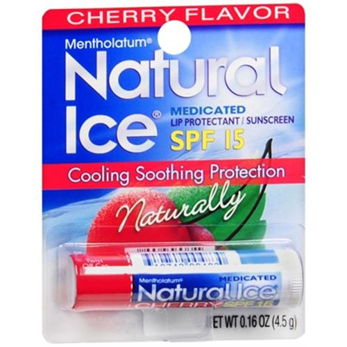 Mentholatum Natural Ice Lip Balm Cherry SPF 15 1 Each (Pack of 4)