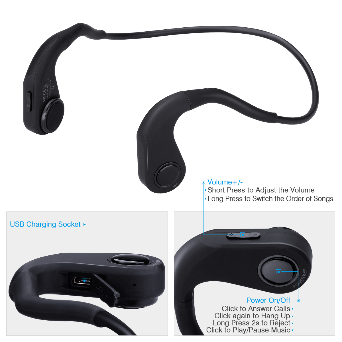 Excelvan Bone Conduction Headphones, Wireless Bluetooth Bone Conduction Headsets Lightweight Stereo Hands-Free Sports Wireless Earphones with Microphone and Volume Control