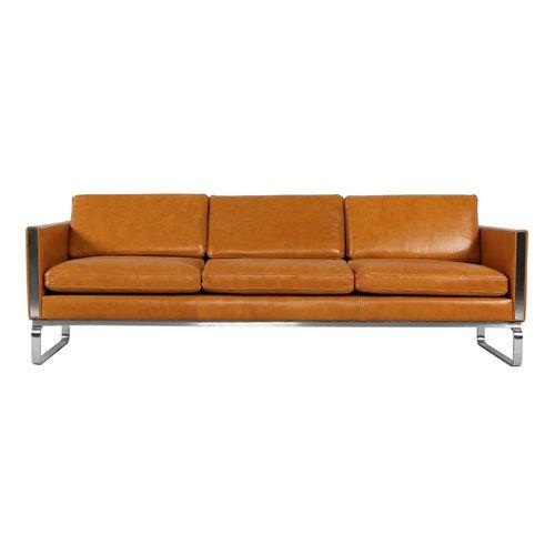 Orren Ellis Yunior Mid-century Modern Genuine Leather Sofa ...