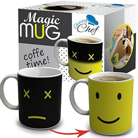 Cool Color Changing Magic Mug - Funny Coffee & Tea Unique Heat Changing Sensitive Cup 12 oz Yellow Happy Face Design Drinkware Ceramic Mugs Cute Birthday Christmas Gift Idea for Mom Dad Women &