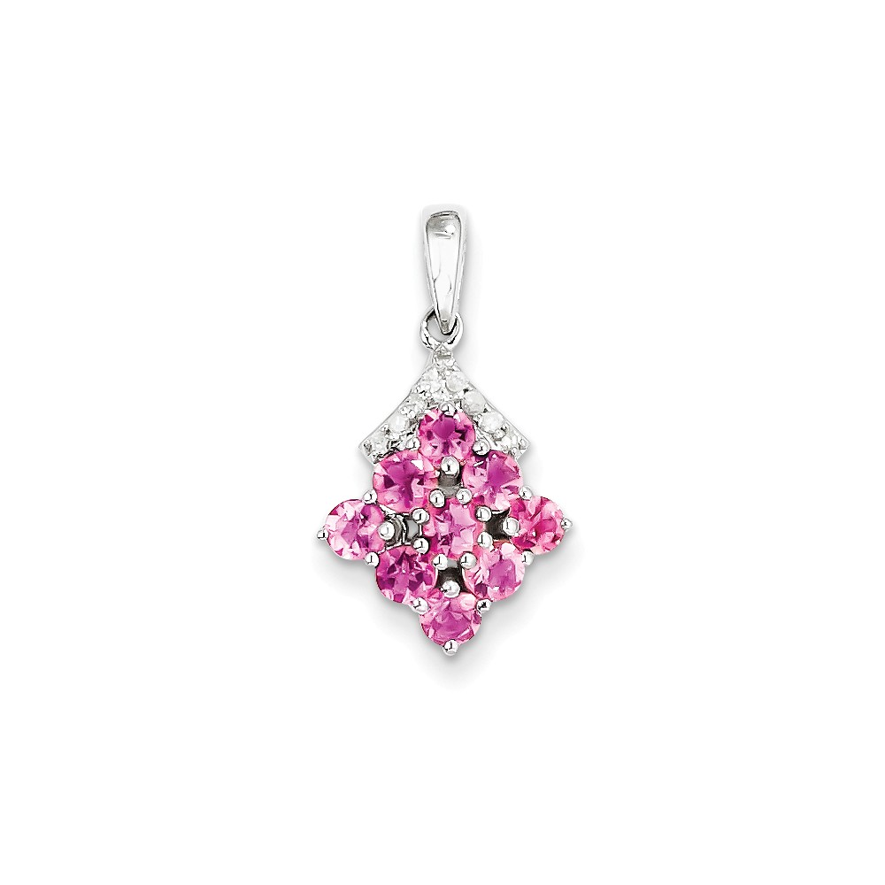 925 Sterling Silver (0.06cttw) Rhodium Plated Diamond and Pink Tourmaline Pendant (15mm x 6mm) by