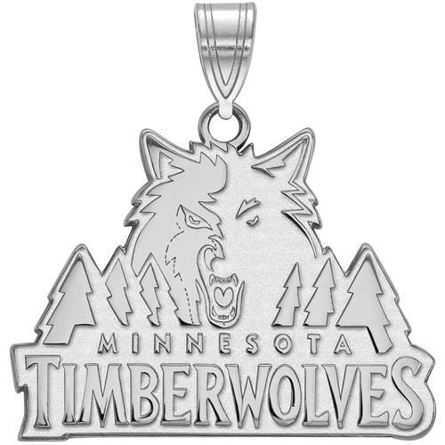 LogoArt NBA Minnesota Timberwolves 14kt White Gold Large Pendant