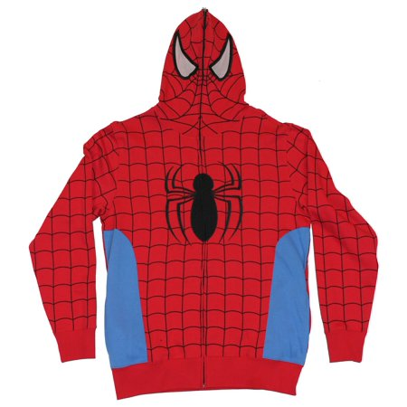 Spider-Man (Marvel Comics) Mens Hoodie Sweatshirt - Classic Red Blue Costume