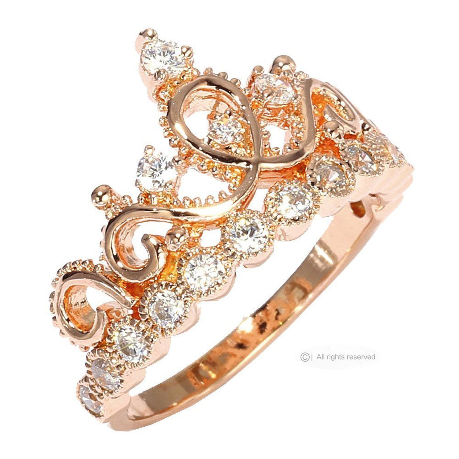 Guliette Verona Sterling Silver Princess Crown Ring Rose Gold