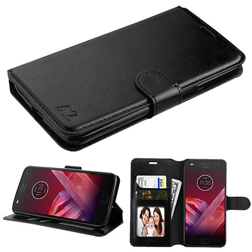 Motorola Moto Z3 / Moto Z3 Play - Premium PU Leather Flip Wallet Case Cover Stand Folio Pouch Book Magnetic Buckle BLACK