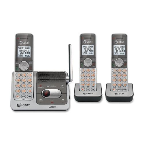 AT&T CL82301 DECT 6.0 Expandable Cordless Phone with Answering System and Caller ID/Call Waiting, Silver, 3 Handsets - C