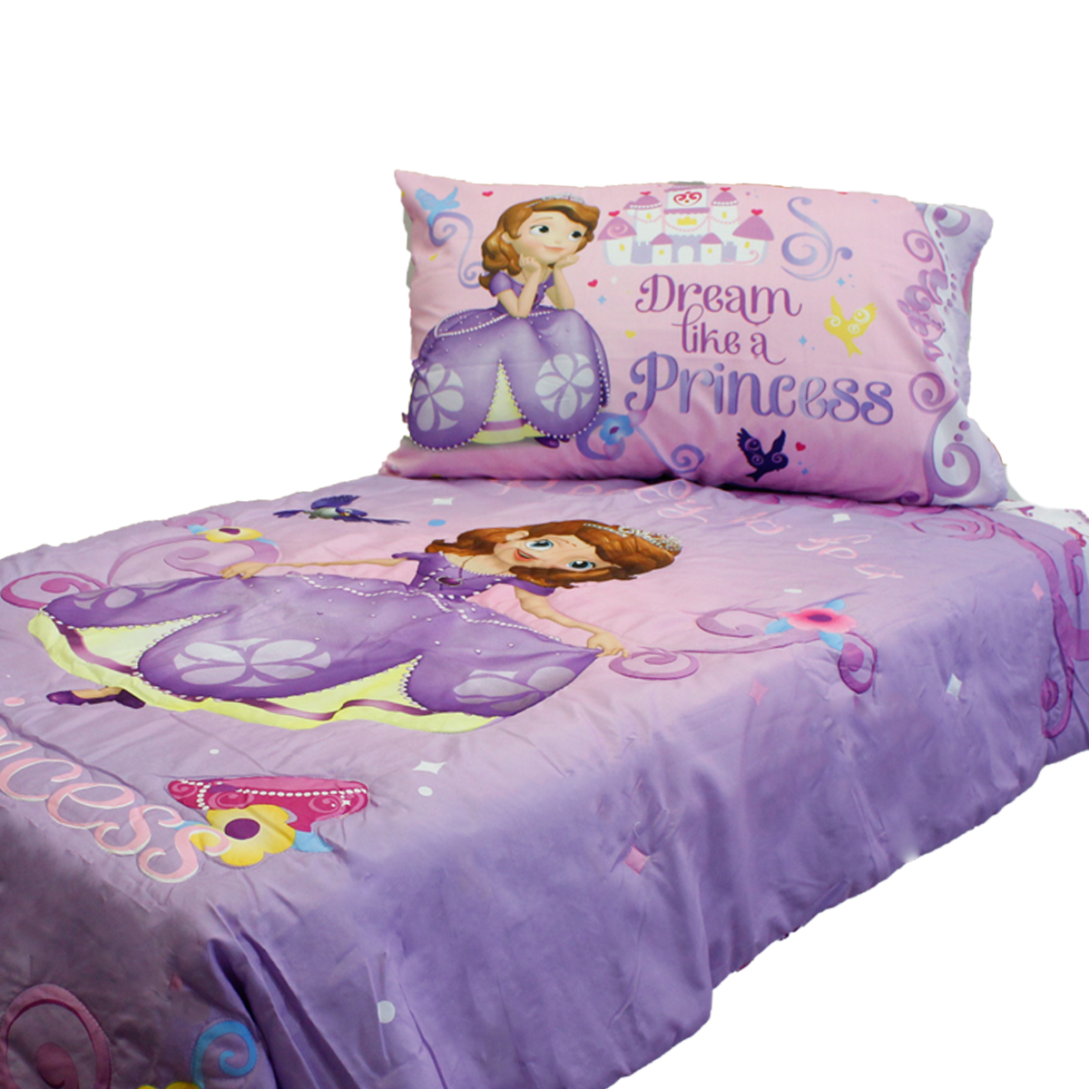 Crown Crafts Infant Products 17180749 Disney Sofia First Toddler Bedding Set Princess Scrolls Bed
