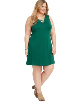 31b5c48a716 Product Image Maurices Lattice Neck Swing Dress - Plus Size 24 7 Collection