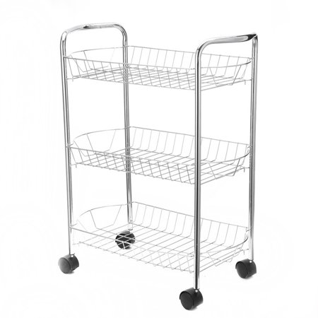 Novamass 3 Tiers Rolling Storage Cart Multi Purpose Removable Kitchen Laundry Bathroom Utility