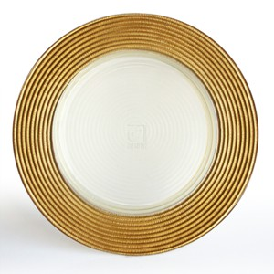 "12"" GLASS CHARGER PLATE GOLD"