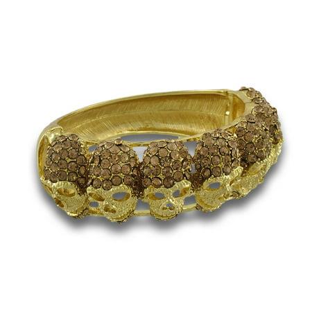 Sparkling Rhinestone Skulls Gold Tone Hinged Bangle Bracelet ()