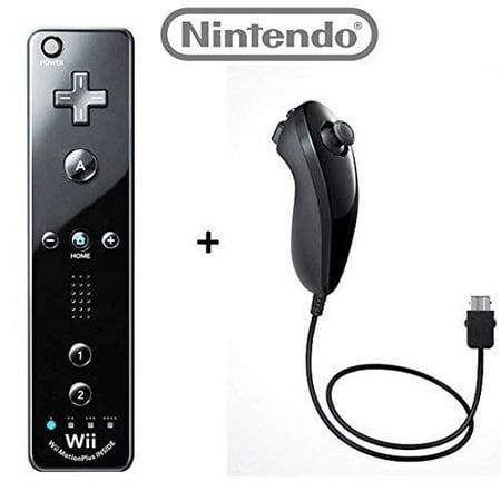 Refurbished Nintendo OEM wii/Wii U Remote Plus Controller And Nunchuk Nunchuck Combo Bundle Set Black