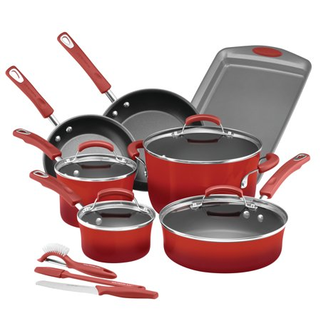 Rachael Ray 14-Piece Classic Brights Hard Enamel Nonstick Pots and Pans Set/Cookware Set, Red