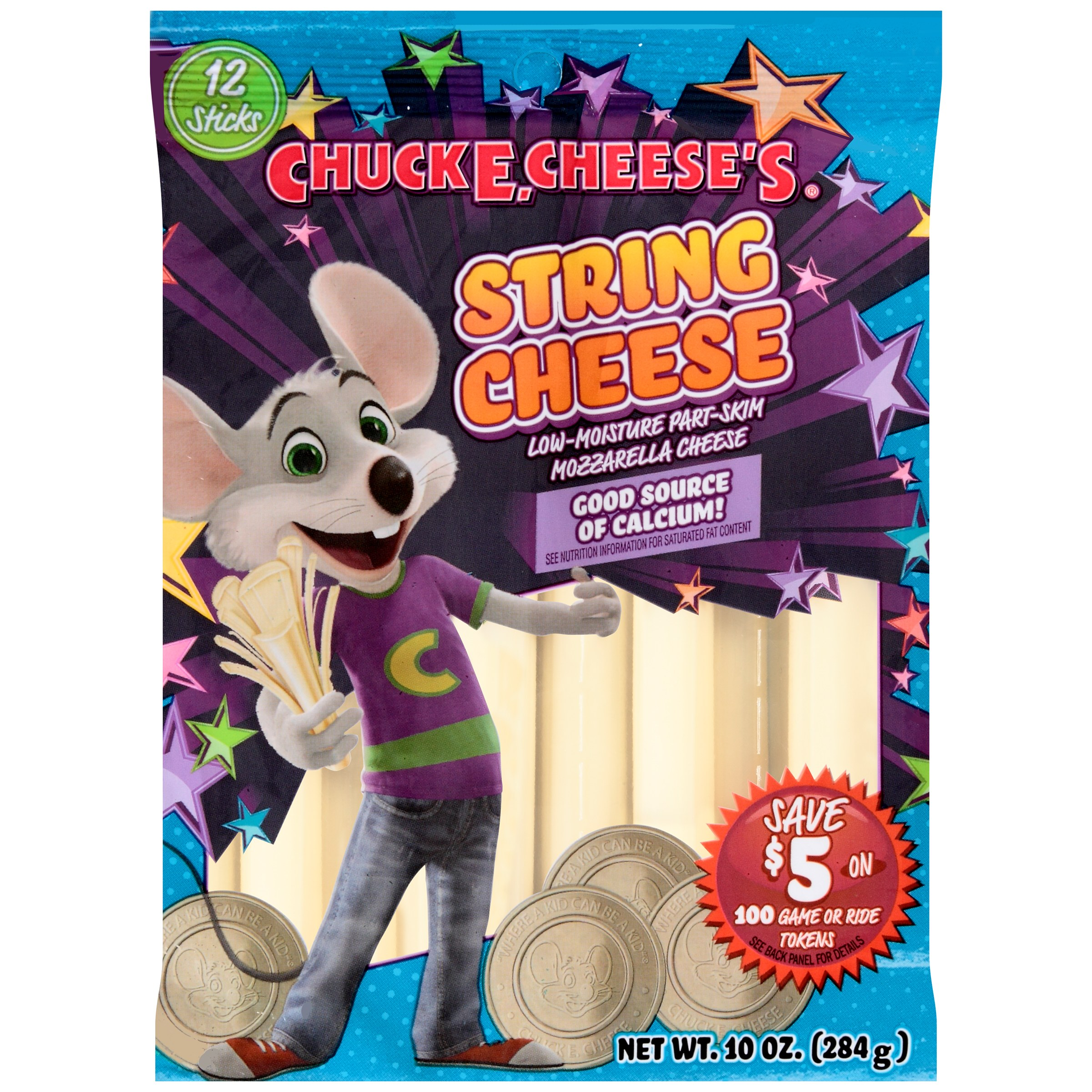 Chuck E. Cheese's 100% Natural String Cheese, 10 oz, 12 ct