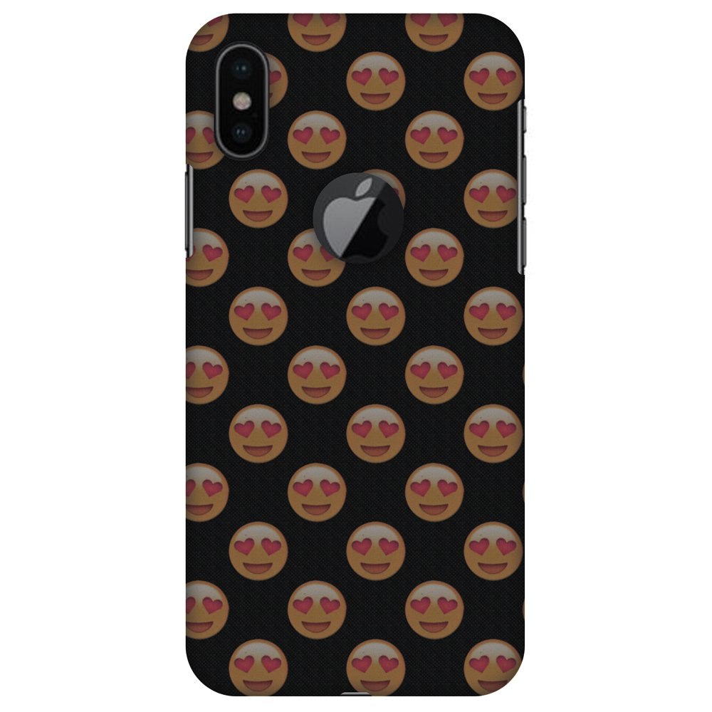 iPhone X Designer Case, Premium Handcrafted Printed Designer Hard ShockProof Case Back Cover for Apple iPhone X - Emoji Love, Thin, Light Weight, HD Colour, Apple Logo Cut