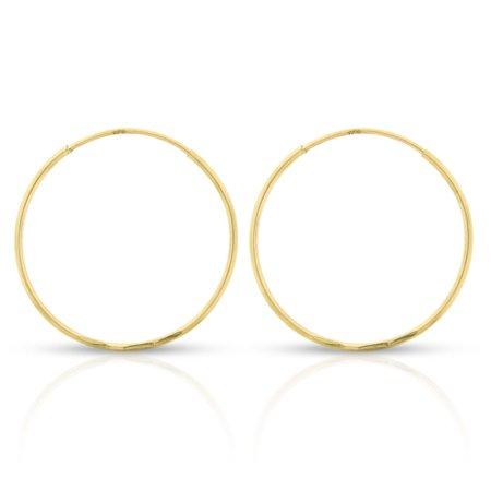 14k Yellow Gold Womens Diamond Cut 0.8mm Round Endless Tube Hoop Earrings 20mm Diameter