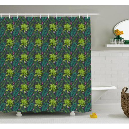 Tropical Shower Curtain Leaves In Sketch Style Aralia And Fern Inspired Foliage Spotted Backdrop